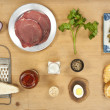 Meat tartare ingredients — Stock Photo