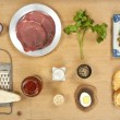 Stock Photo: Meat tartare ingredients