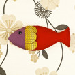 Puppet fish on colorful background — Stock Photo