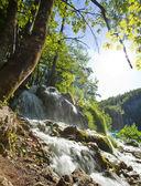 Beautiful forest waterfall in Plitvicka jezera Croatia — Stock Photo
