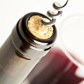 Macro close up of corkscrew in wine bottle cork — Stock Photo