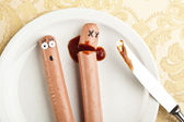 Funny picture of murdered hotdog — Stock Photo