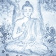 Drawing of meditating buddha - Stok fotoraf
