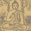 Drawing of meditating buddha — Stock Photo
