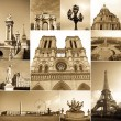 Paris collage of the most famous monuments and landmarks - 图库照片