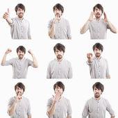 Młody człowiek twarz wyrażenia kompozytowe na białym tle na biały deseń — Zdjęcie stockowe
