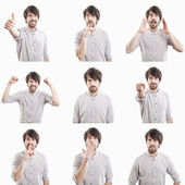 Young man face expressions composite isolated on white backgroun — ストック写真