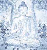 Drawing of meditating buddha — Foto Stock