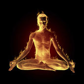 Yogi madetation in lotus pose on fire — Stock Photo