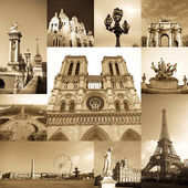 Paris collage of the most famous monuments and landmarks — Stockfoto