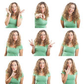 Young woman face expressions composite isolated on white backgro — Stock Photo
