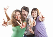 Group of three positive happy friends — Stock Photo