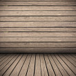 Wooden planks interior background, wood floor and wall — Stock Photo