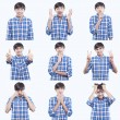 Young teen face expressions composite isolated on white background — Stock Photo #28460139