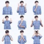 jonge tiener gezicht expressies samengestelde geïsoleerd op witte achtergrond — Stockfoto #28460139
