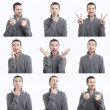 Stock Photo: Young man funny face expressions composite isolated on white background