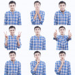 Young teen face expressions composite isolated on white background — ストック写真