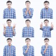 Young teen face expressions composite isolated on white background — Stock Photo