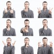 Young man funny face expressions composite isolated on white background — Stock Photo