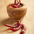 Red hot dry chili peppers over wooden background — Stock Photo #28461111
