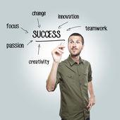 Mladík neformální psaní úspěch diagram na skleněné desce se značkou — Stock fotografie