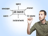 Mladík neformální psaní diagramu hledání zaměstnání na skleněné desce — Stock fotografie