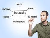 Ung casual man skriva ett jobb sök diagram glas ombord — Stockfoto