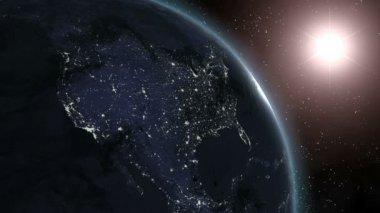 Earth (Highend) Sunrise Over North America CGI HD — Stock Video