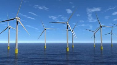 Windfarm Flyby Animation HD — Stock Video