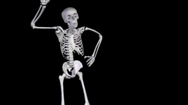 Skeleton Disco Dancing - Zoom Out plus Alpha CGI — Stock Video