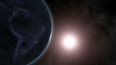 Earth (Highend) Sunrise Over South America CGI HD — Stock Video
