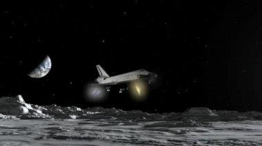 Space Shuttle Moon Landing CGI HD — Stock Video