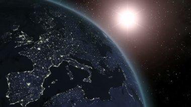 Earth (Highend) Sunrise Over Europe CGI HD — Stock Video