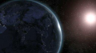 Earth (Highend) Sunrise Over Asia CGI HD — Stock Video