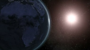 Earth (Highend) Sunrise Over Africa CGI HD — Stock Video