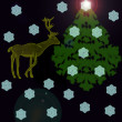 Deer near a Christmas fur-tree — Stock Photo