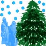 Santa-Klaus and Fur-tree, — Stock Photo #37023341