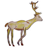 Drawing of a yellow deer with branchy horns — Stock Photo