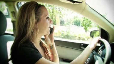 Talking on Cell Phone While Driving — Vídeo de stock