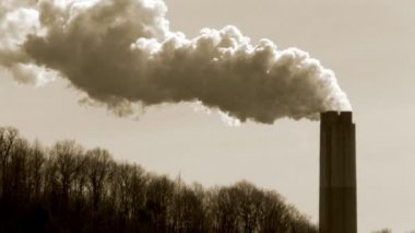 Smoke stack environmental pollution — Stock video