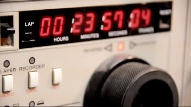 The timecode readout on a 3-4 U-matic deck