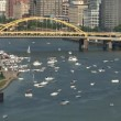 Stock Video: Boats on Ohio River time lapse