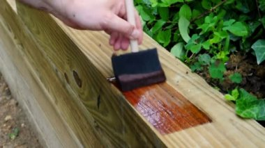 Staining a new wooden retaining wall — Stock Video