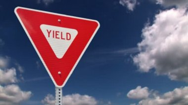 Yield road sign — Stock Video