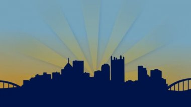 An abstract Pittsburgh skyline background — Vídeo de stock