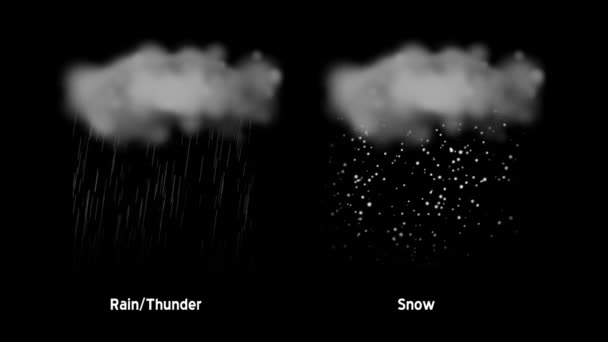 Iconos meteorológicos animados con mate alfa — Vídeo de stock