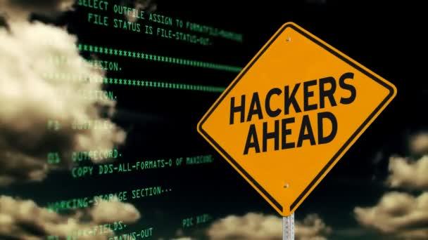 Clip de los hackers camino adelante signo concepto — Vídeo de stock