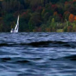 Boaters on Lake Arthur in Moraine State Park in the Fall — Stock Video