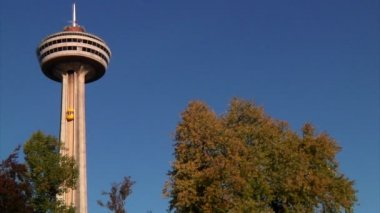 Elevators rise up into the Skylon Tower in Niagara Falls — Stock Video