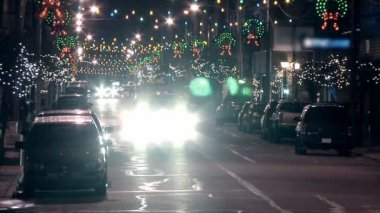A small town decorated for Christmas. — Stock Video #13813252